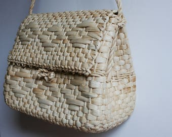 Woven bag, Woven Straw Bag, Straw Handbag, Boho Straw Bag, Handwoven Straw Bag, Woven Shoulder bag, Summer Bag, Cornhusk bag, Basket bag