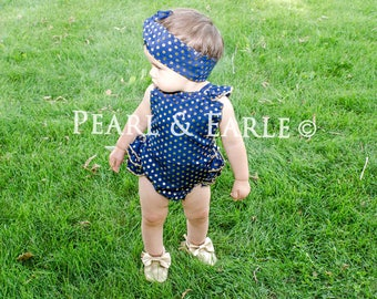 Navy, Baby Girl Romper Set, Polka Dot Baby, Gold Baby Romper, Gold First Birthday, Gold Romper, Half Birthday Girl, Half Birthday Outfit,