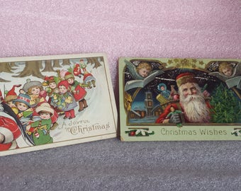 Vintage Christmas Postcards, Germany, Santa