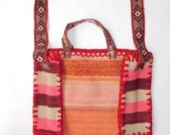 Handwoven Wool Peru Weekend Tote Bag