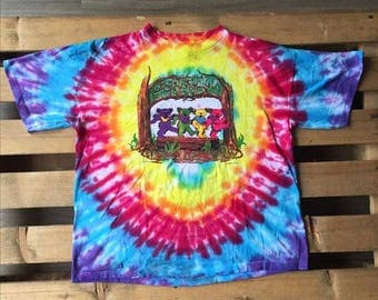 1990s Vintage Grateful Dead t-shirt, tie dye, 90s, 1990s, psychedelic, rock, band, concert, tour, jerry garcia, 25th, anniversary, bears