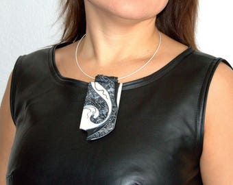 Jewelry pendant Polymer clay pendant White black necklace Statement necklace Modern pendant White black jewelry