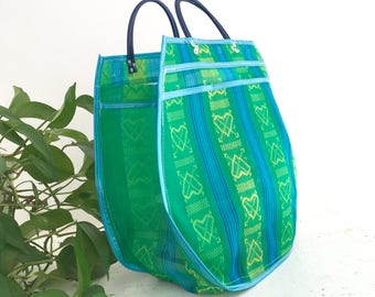 Shopping bag XXL - green/blue hearts