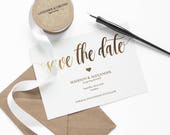 Save the Date templateGold  Save the date PDF Printable Save the date Gold save the date cards  Save the dates wedding Invitation PDF