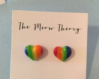 Pride heart rainbow earrings