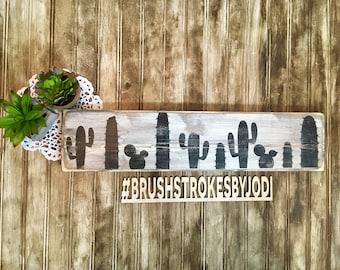 Cactus sign, rustic wood sign, handpainted wooden signs, wooden sign, wood sign, cactus art, wood art, wooden decor, handpainted deco