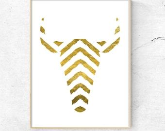 Chevron Deer Print, Gold Deer Print, Printable Wall Art, Modern Wall Art, boho art print, Gold home Decor, Large prints, deer head print