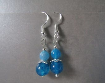 Sterling Silver Semi Precious Blue Agate bead Earrings