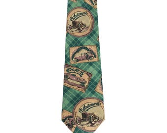 Trussardi vintage silk tie abstract floral yellow made in italy 1980s