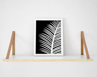 White tropical palm Leaf on black background print scandi poster monochrome typography