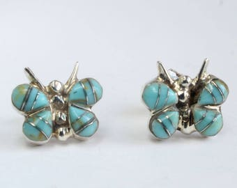 Turquoise Earrings Butterfly Earrings Inlaid Native American Indian Navajo Indian Sterling Silver