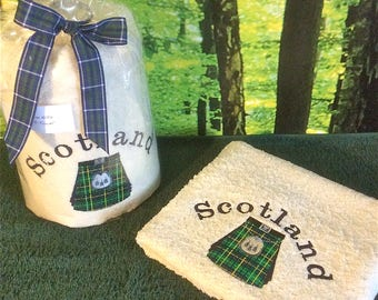Embroidered Towels, Scottish Tartan Kilts, Facecloths, Hand Towels and Bath Towels