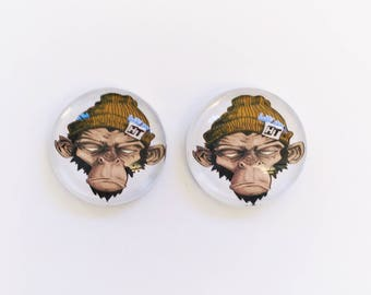 The 'Monkey Business' Glass Earring Studs