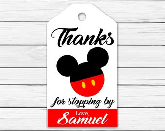 Mickey Mouse Thank You Tags - PERSONALIZED - Printable Mickey Mouse Thank You Tags - Mickey Birthday Favor Thank You Tags.