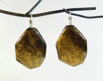 """Earrings """"Marbling"""" sleeper silver metal frame, handmade"""