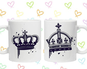 His and hers king and queen couples mug set wedding present gift idea