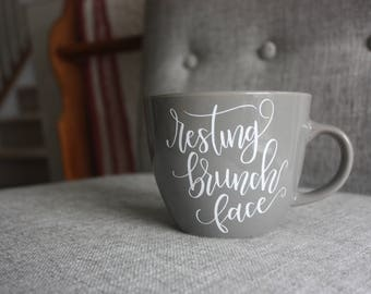 Resting Brunch Face Coffee Mug | RBF Mug | 16oz Stoneware Mug | Mug Color Options Available
