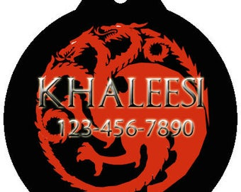 GoT Game of Thrones Khaleesi Mother of Dragons Inspired Dog Cat Pet Backpack Round ID Tag