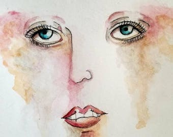 Watercolor Abstract Face. Colorfully Numb Art Print.