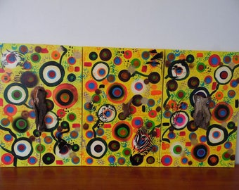 Safari acrylic paint and driftwood on cotton frame