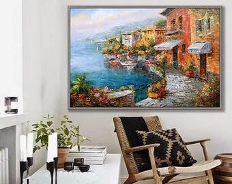 "Riva di Varenna, Lake Como, Italy Landscape, 24x36""/60x90cm Oil Painting"