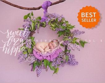 Newborn digital backdrop spring wreath of fresh flowers of Lilac. Instant download digital background. Hires jpg file