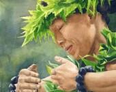 "Hula Dancer Hawaii art print : 8x10"" Kauai watercolor painting, Hula artwork, Hula painting, maile lei painting, Hawaii artwork, green art"