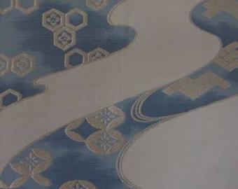 Genuine Japanese Kimono Obi - Cream with Blue Water Motif