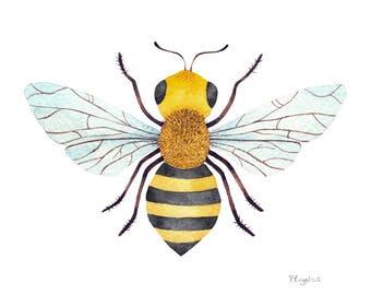 Original watercolor illustration, Bee