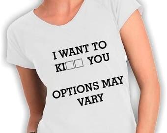 T-shirt neckline ooption may vary