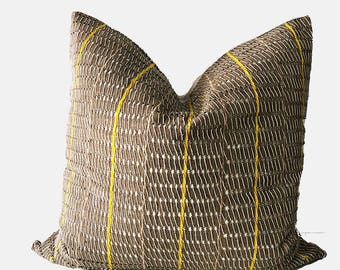 Ofi - Beige and Yellow Striped Vintage African Cloth Aso-Oke Pillow, High Quality Italian Linen Back Fabric, Mud Cloth Style