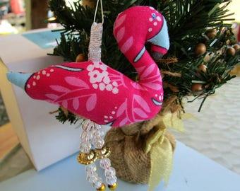 Pink Flamingo Christmas Beach Ornament Upcycled Fabric Beaded Legs OOAK Tropical holiday Decor Handmade Flamingo Cottage Chic