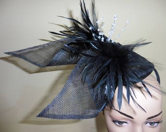 Black Fascinator,Black Hat,Wedding Hat,Ascot Hat,Occasion Hat,Fascinator,
