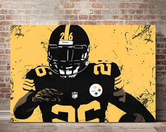 Pittsburgh Steelers Canvas Print - Pittsburgh Steelers Art - Pittsburgh Steelers Wall Art - LeVeon Bell Illustration - Pittsburgh Steelers