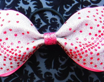 Tailless Cheer Bow, Tuxedo Bow, White Glitter with Pink Rhinestones and a Glitter Center