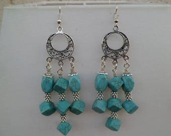 Long earrings and turquoise stones
