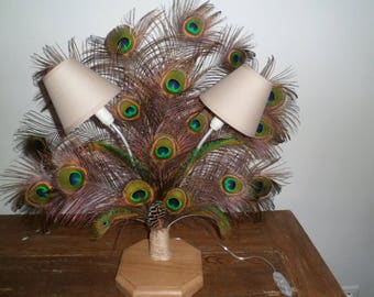 lamp and peacock feathers
