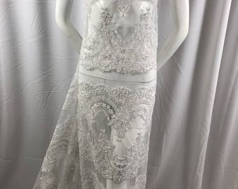 Lace Fabric Beaded Trim Sewing White Trimming Edge Embroidered Wedding Craft Bridal Veil By The Yard