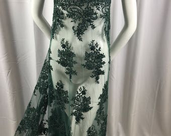 Lace Fabric - Green Design Embroider Beaded Mesh Dress Wedding Decoration Bridal Veil Nightgown By The Yard