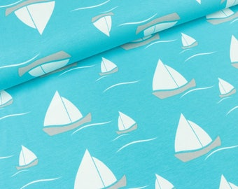 Cotton Jersey Vera sailing ships on Turquoise (15.90 EUR / meter)