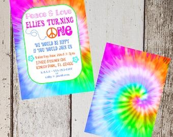 Tie Dye Birthday Invitation / Personalized Birthday Invitation / Hippy Birthday Invitation / 5x7 Printable Invitation / DIY Invitation