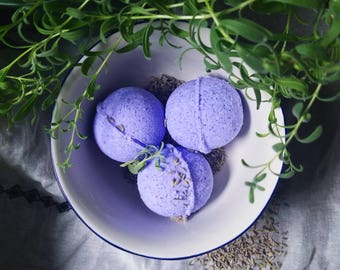 Lavender Bath Bomb   Organic Coconut Oil   Moisturizing Aromatherapy, Sore Muscle Soak   Bath Fizz Lavender Buds Bud Epsom Mineral Relaxing