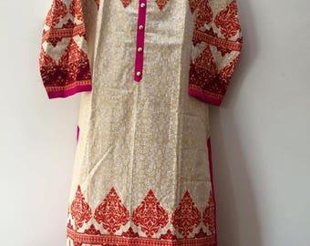 Indian Kurta Kurti Block Print Tunic Top Golden Embroidery