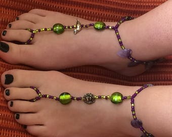 Barefoot Sandals: Amethyst and Chartreuse Whimsical Birds