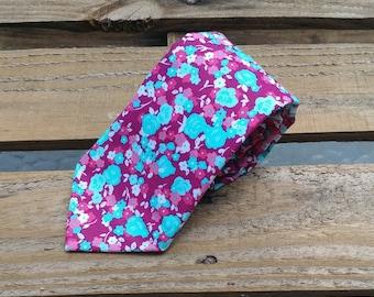 Fuchsia Necktie, Pink Purple and Blue Flower Necktie, Purple Flower Necktie, Purple Floral Necktie