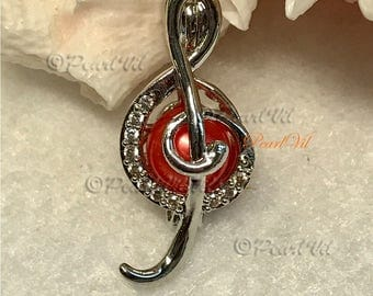 Musical Note Treble Clef Pearl Cage Pendant Optional Chain