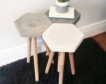 Concrete Hexagon Industrial Side Table