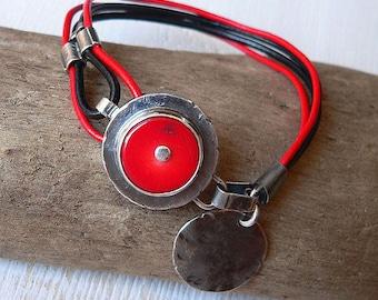 coral bracelet, coral, sterling silver