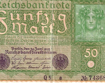 2 pc. lot vintage Germany reichsbanknote 50 mark 1919 P#66 old banknote note
