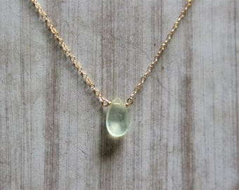 prehnite necklace,gold filled necklace, gemstone jewelry, gift for her, birthstone jewelry,dainty jewelry,minimalist jewelry,necklace,gold
